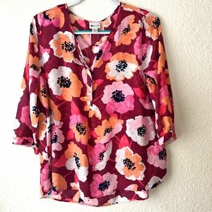 Stylus - Pink Floral Pullover 3/4 Sleeve Top - XL